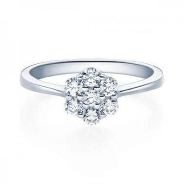 Solitario en oro rosa con diamante 0,100 ct.  - 1