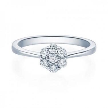 Solitario en oro rosa con diamante 0,100 ct.  - 2