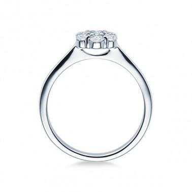 Solitario en oro blanco con diamantes  - 2