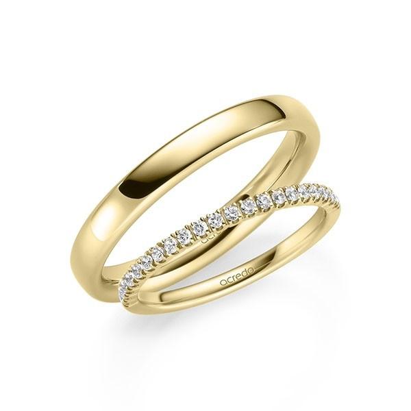 Anillo de compromiso en oro amarillo con corona de diamantes  - 1