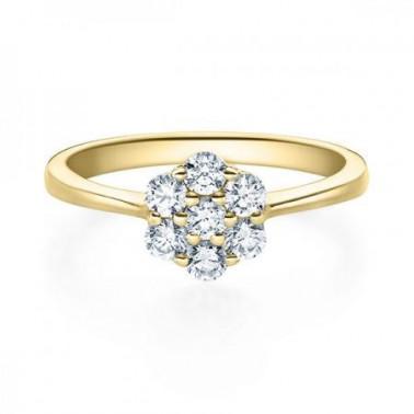 Solitario en oro blanco con diamante de 0,30 ct (tw,si) y corona central de diamantes Rubin - 3