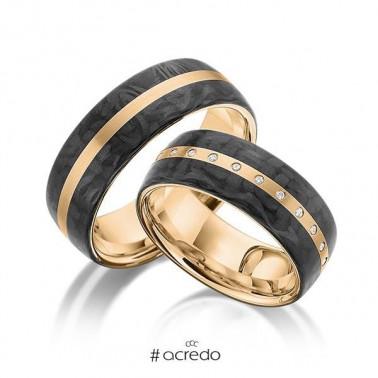 Solitario con diamante central y dos diamantes laterales Rubin - 2