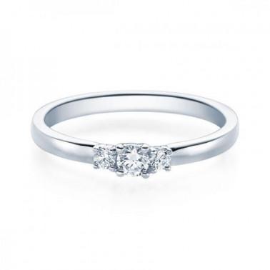 Solitario en oro blanco con diamante de 1,00 ct (tw,si) + 42 diamantes Rubin - 2