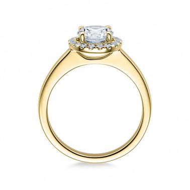 Solitario en oro blanco con diamante de 6 puntas de 0,08 ct (tw,si) Rubin - 1
