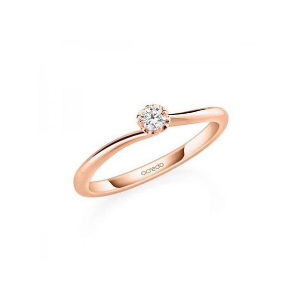 Anillo de pedida en oro rosa de 18 K con 70 diamantes. Memoire  - 1