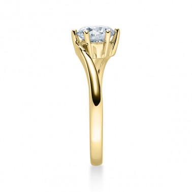 Anillo de pedida en oro amarillo de 14 y 18 K. Diamante 0,10 ct. Modelo care  - 1