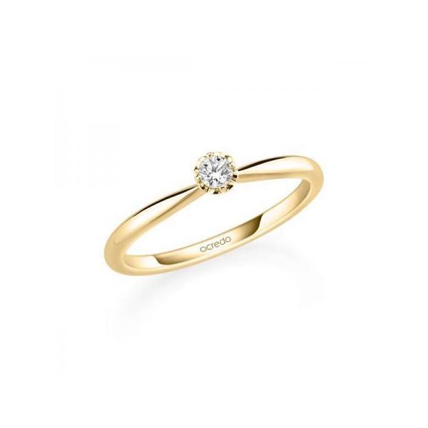 Solitario en oro amarillo de 14 y 18 K. Diamante 0,20 ct. Modelo 6 puntas  - 1