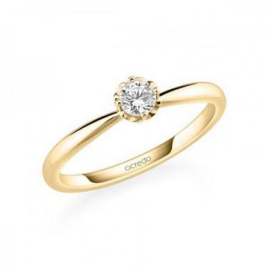 Solitario en oro amarillo de 14 y 18 K. Diamante 0,20 ct. Modelo 6 puntas  - 2