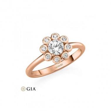Anillo en oro amarillo con diamante central 0,40 ct. + corona de 30 diamantes. Rubin - 1