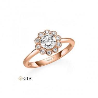 Anillo en oro amarillo con diamante central 0,40 ct. + corona de 30 diamantes. Rubin - 2