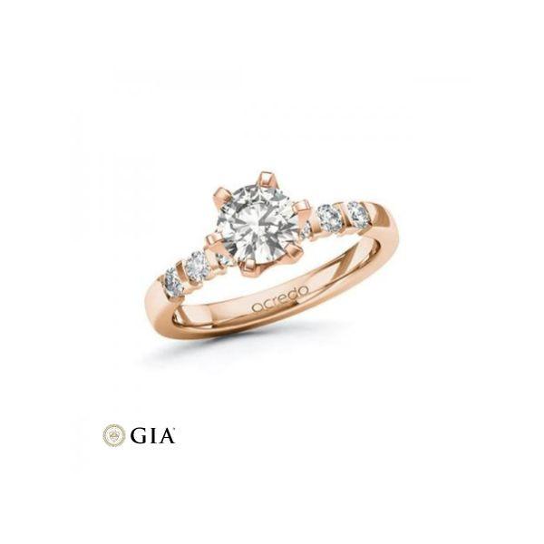 Anillo de pedida en oro rosa con diamante central 1,00 ct + corona 32 diamantes Rubin - 1