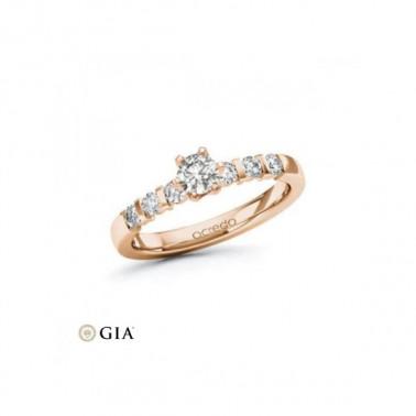 Anillo de pedida en oro rosa con diamante central 1,00 ct + corona 32 diamantes Rubin - 2