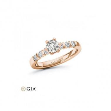 Anillo de pedida en oro rosa con diamante central 1,00 ct + corona 32 diamantes Rubin - 3