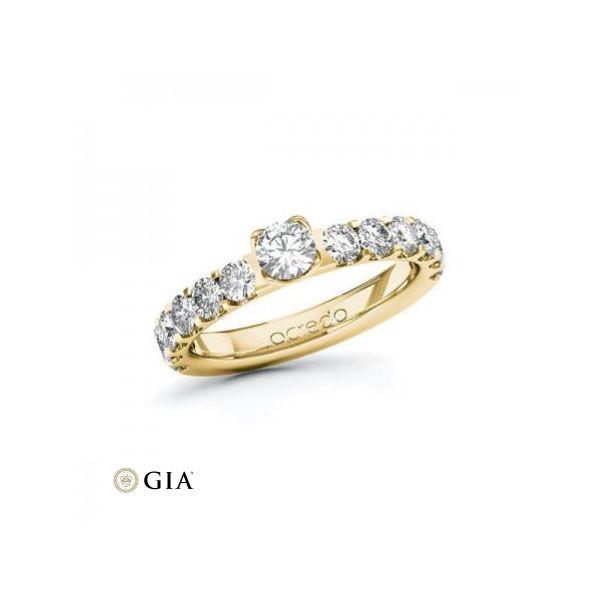 Anillo de pedida en oro rosa de 18 K y corona de 7 diamantes Rubin - 1
