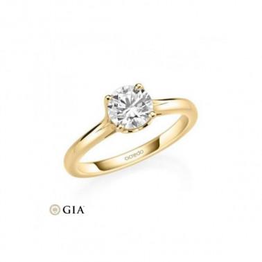 Solitario en oro amarillo de 14 y 18 K. Diamante 0,20 ct. Modelo faro  - 1