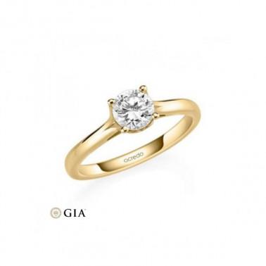 Solitario en oro amarillo de 14 y 18 K. Diamante 0,20 ct. Modelo faro  - 2