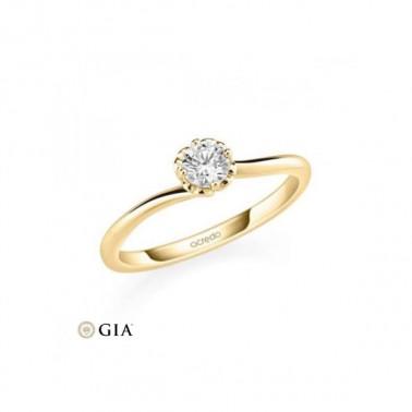 Solitario en oro rosa de 14 y 18 K. Diamante 0,16 ct. Modelo 6 puntas  - 1