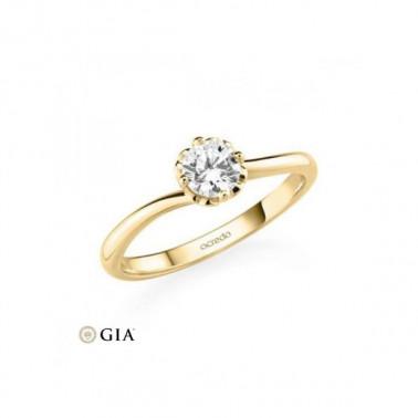 Solitario en oro rosa de 14 y 18 K. Diamante 0,16 ct. Modelo 6 puntas  - 2