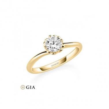 Solitario en oro rosa de 14 y 18 K. Diamante 0,16 ct. Modelo 6 puntas  - 3