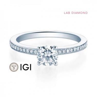 Solitario en oro blanco con diamante 1,00ct. (tw,si) 6 puntas Rubin - 2
